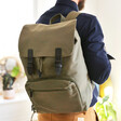 Personalised 'Your Drawing' Hidden Message Canvas Laptop Rucksack in Khaki Green