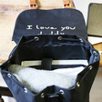 Inside of Personalised 'Your Drawing' Hidden Message Canvas Laptop Rucksack in Black