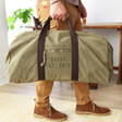 Men's Personalised Canvas Holdall in Vintage Khaki with Model