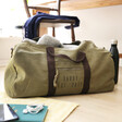 Men's Personalised Canvas Holdall in Vintage Khaki