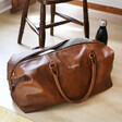 Brown Faux Leather Personalised Hidden Message Weekend Holdall