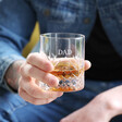 Dad's Personalised Vintage Style Etched Whisky Tumbler with Wooden Base