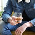 Father's Day Personalised Vintage Style Etched Whisky Tumbler with Wooden Base
