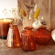 Set of Three Small Amber Glass Bud Vases