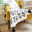 Large Black and White Sass & Belle Triangle Block Print Throw Blanket