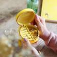 Inside of Mustard Yellow Personalised 18th Birthday Mini Round Travel Jewellery Case