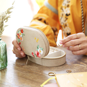Embroidered Flowers Oval Velvet Jewellery Box
