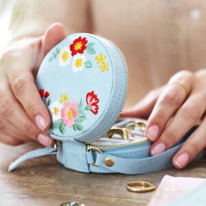 Embroidered Flowers Mini Round Velvet Jewellery Case