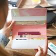 Open Personalised Birth Flower Slim Iridescent Travel Wallet