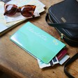 Personalised Birth Flower Slim Iridescent Travel Wallet in Turquoise