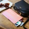Personalised Birth Flower Slim Iridescent Travel Wallet in Pink