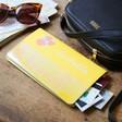 Personalised Birth Flower Slim Iridescent Travel Wallet in Mustard