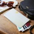 Personalised Birth Flower Slim Iridescent Travel Wallet in Grey