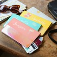 Personalised Birth Flower Slim Iridescent Travel Wallet in All Colours