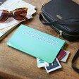 Personalised Bold Slim Iridescent Travel Wallet in Turquoise