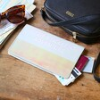 Personalised Bold Slim Iridescent Travel Wallet in Grey