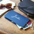 Navy Lisa Angel Personalised Name Slim Travel Wallet
