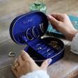 Inside of Lisa Angel Starry Night Velvet Oval Jewellery Case in Navy