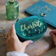 Lisa Angel Ladies' Starry Night Teal Velvet Oval Jewellery Case