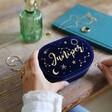Deep Navy Blue Personalised Starry Night Velvet Oval Jewellery Case