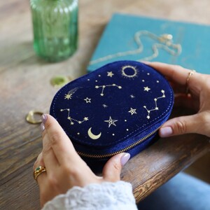 Starry Night Velvet Oval Jewellery Case in Navy
