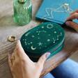 Lisa Angel Ladies' Starry Night Velvet Oval Jewellery Case in Teal