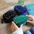 Starry Night Velvet Oval Jewellery Case in Navy, Black and Teal