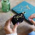 Black Personalised Starry Night Velvet Petite Travel Ring Box