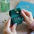 Inside of Personalised Starry Night Green Velvet Petite Travel Ring Box