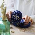 Personalised Starry Night Navy Velvet Mini Round Jewellery Case with Model