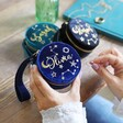 Group of Colourful Personalised Starry Night Velvet Mini Round Jewellery Cases
