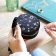 Starry Night Velvet Mini Round Jewellery Case in Black From Lisa Angel