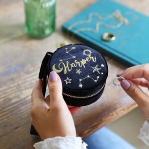 Starry Night Velvet Mini Round Jewellery Case in Black