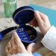 Inside of Starry Night Velvet Mini Round Jewellery Case in Navy