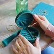 Inside of Personalised Starry Night Green Velvet Mini Round Jewellery Case
