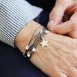Model Wears Grey Personalised Multi-Strand Star Bracelet From Lisa Angel