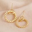 Lisa Angel Flat Twisted Hoop Drop Earrings in Gold
