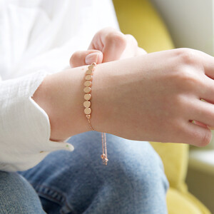 Disc Chain Bracelet in Rose Gold