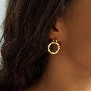 Flat Twisted Hoop Drop Earrings in Gold