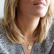 Female Model Wearing Lisa Angel Engraved Filigree Disc Pendant Necklace