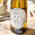 Close Up of Personalised 40th Birthday Bottle of Wine on Table
