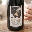Close Up of Personalised The Star Tarot Card Bottle of Wine