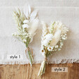 Styles of Handmade White and Natural Dried Flower Buttonholes