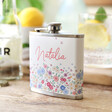 Personalised With Name Flower Hip Flask