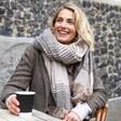 Model Wearing Asymmetrical Striped Blanket Scarf in Beige from Lisa Angel