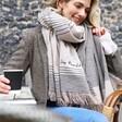 Model Wearing Lisa Angel Personalised Asymmetrical Striped Blanket Scarf in Beige