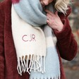 Model Wearing Personalised Burgundy and Grey Colour Block Winter Scarf