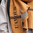 Close Up of Personalised Embroidered Check Blanket Scarf in Light Brown