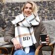 Model Wearing Lisa Angel Personalised White and Beige Plaid Blanket Scarf