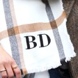 Close Up of Personalised White and Beige Plaid Blanket Scarf from Lisa Angel